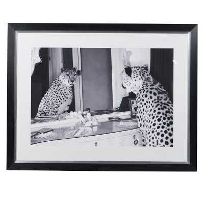 Double Take Black and White Framed Print of Cheetah in Front of Mirror