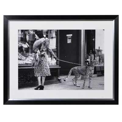 Lady With Leopard On a Leash Photo Large Modern Black White Wall Art