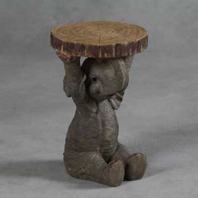 Decorative Wood Trunk Slice Polyresin Elephant Holding Side End Table
