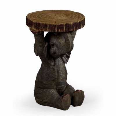 Elephant Holding A Trunk Slice Side Lamp Bedside Table