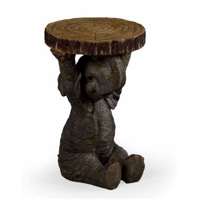 Pair Of Wooden Trunk Slice Polyresin Elephant Holding Side End Table