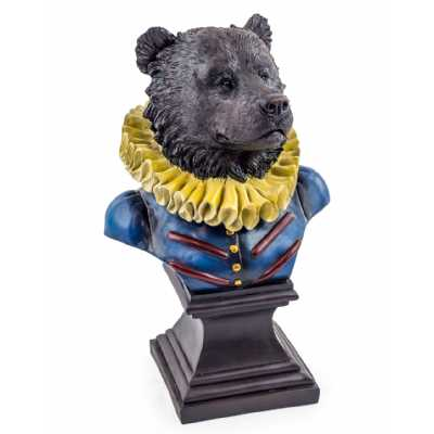 Resin Gentry Black Bear Bust Statue in Uniform On Square Plinth