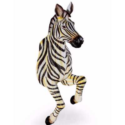 Funky Cool Running Zebra Wall Hanging Figure Black and White