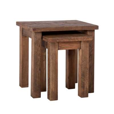 Vancouver Sawn Old Oak Aged Brown Wash Finish Rustic Nest of 2 Tables
