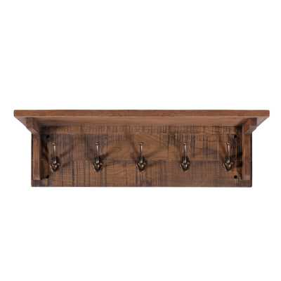 Vancouver Sawn Old Oak Wall Mounted Coat Rack with 5 Hooks