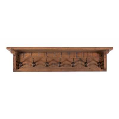 Vancouver Sawn Old Oak Wall Mounted Coat Rack with 7 Hooks