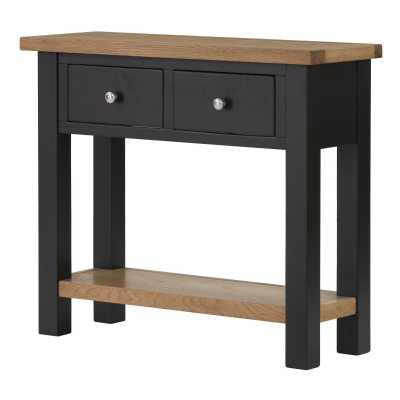 Vancouver Lacquered Oak Black Grey Painted 2 Drawer Console Hall Table