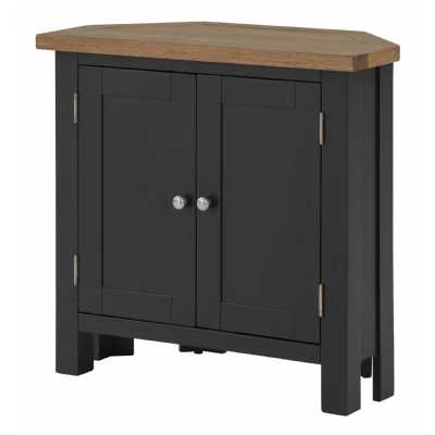 Black Grey Painted Corner Storage Cupboard with Lacquered Oak Top