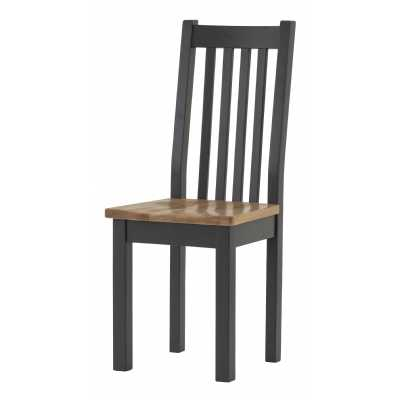 Vancouver Compact Lacquered Oak Seat Black Grey Painted Dining Chair