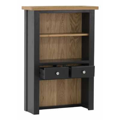 Vancouver Lacquered Oak Top Black Grey Painted 2 Drawer 1 Shelf Hutch