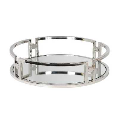 Round Silver Serving Tray with Mirror Base