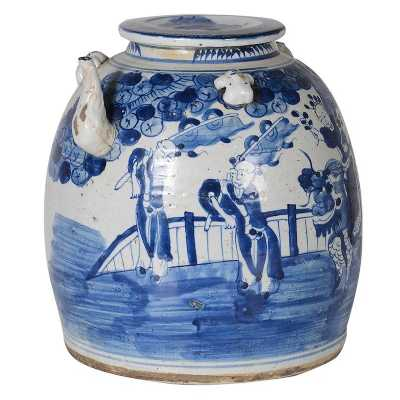 Traditional Ornamental Japanese Style Blue and White Kettle Pot