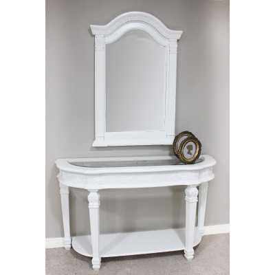 Athens White Painted Wall Mirror and Console Hall Table Set with Glass Top