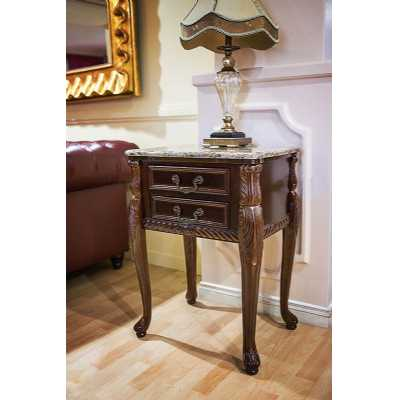 Solid Hardwood Marble Top 2 Drawer Side Table in Mahogany Finish