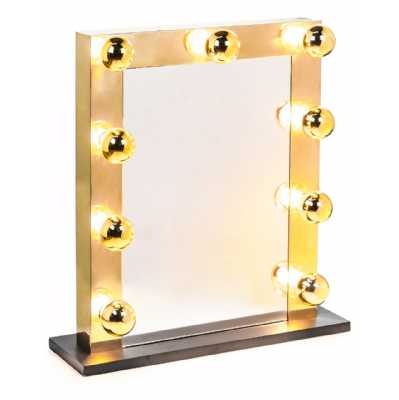 Large Rectangular Brass Hollywood LED Bulb Vanity Makeup Dressing Table Mirror