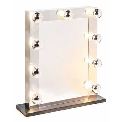 Large Rectangular Chrome Hollywood LED Bulb Vanity Makeup Dressing Table Mirror