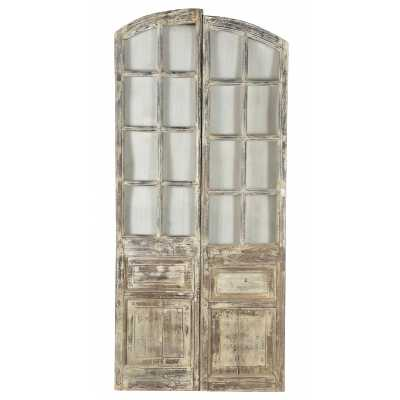 Handicrafts Antique Wooden Door Pair With Panel Detail