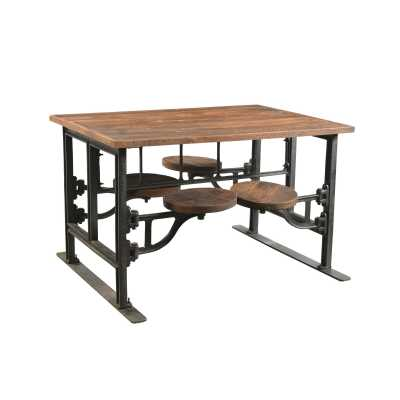 Handicrafts Four Seater Iron and Wood Industrial Dining Table with Adjustable Swivel Seating