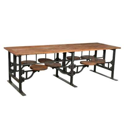 Large 8 Seater Iron Wood Industrial Dining Table Adjustable Swivel Seating