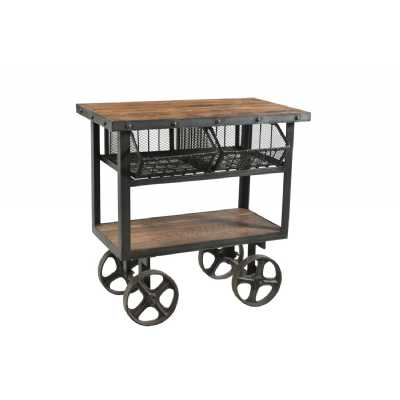 Handicrafts Iron and Reclaimed Timber Trolley With 2 Metal Baskets