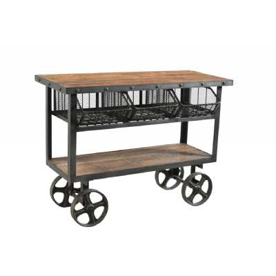 Industrial Iron and Reclaimed Wheeled Timber Trolley With 3 Metal Baskets