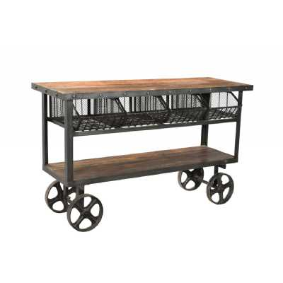 Industrial Iron and Reclaimed Wheeled Timber Trolley With 4 Metal Baskets