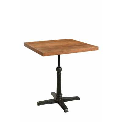 Handicrafts Square Iron and Reclaimed Timber Cafe Pedestal Table