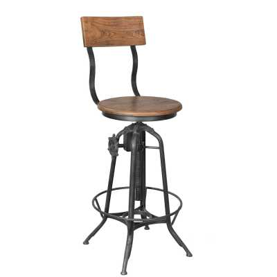 Handicrafts Iron And Wood Industrial Pedestal Adjustable Bar Stool