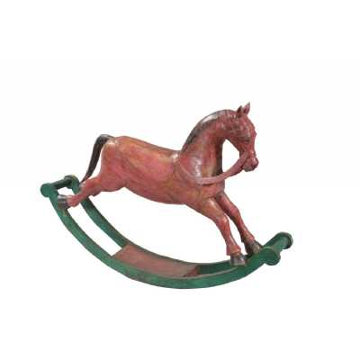 Handicrafts Antique Wood Hand Carved Terracota and Pastel Green Rocking Horse 20x120x83cm
