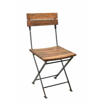 Handicrafts Directors Style Folding Chair with Iron Frame and Wooden Top and Base