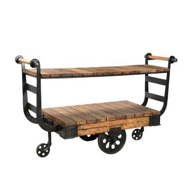 Antique Iron Industrial Display Serving Trolley with Wheels and Wooden Shelf