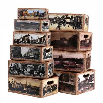 Vintage Display Crates Set of 10 Rectangular Boxes Coventry