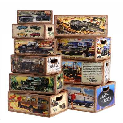 Vintage Display Crates Set of 10 Rectangular Boxes Land Rover