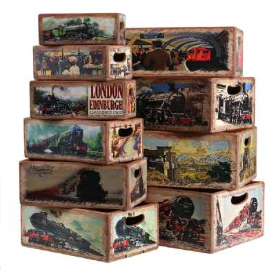 Vintage Display Crates Set of 10 Rectangular Boxes Old Train