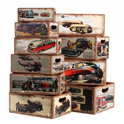 Vintage Display Crates Set of 10 Rectangular Boxes VW
