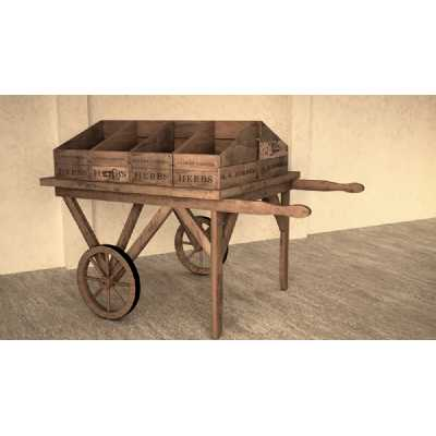 Vintage Display Crates Display Cart with Flat Top and Wheels