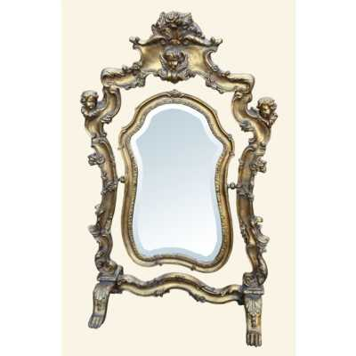 Gold Gilt Leaf Swing Table Bevelled Mirror
