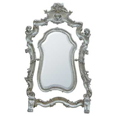 Silver Gilt Leaf Swing Table Bevelled Mirror