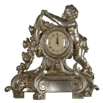 Silver Gilt Leaf Cherub Clock