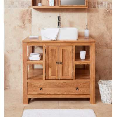 Bathroom Collection Solid Oak Two Door Single Sink Unit (Square)