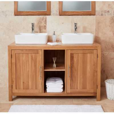 cbc19c1 baumhaus bathroom collection solid oak dual sink unit with two doors square