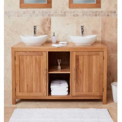 Bathroom Collection Solid Oak Dual Sink Unit with Two Doors (Round)
