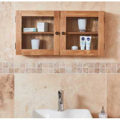 CBC19D Baumhaus Bathroom Collection Solid Oak Glass Double Door Cabinet