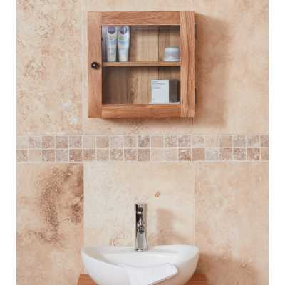 CBC19E Baumhaus Bathroom Collection Solid Oak Glass Single Door Cabinet