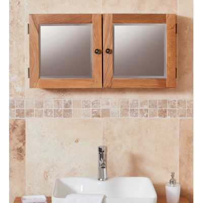 CBC19F Baumhaus Bathroom Collection Solid Oak Mirrored Double Door Cabinet