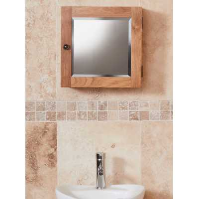 CBC19G Baumhaus Bathroom Collection Solid Oak Mirrored Single Door Cabinet