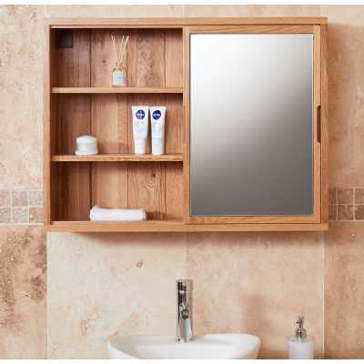 CBC19H Baumhaus Bathroom Collection Solid Oak Mirrored wall shelf unit