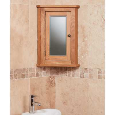 CBC19I Baumhaus Bathroom Collection Solid Oak Mirrored Corner Wall Cabinet