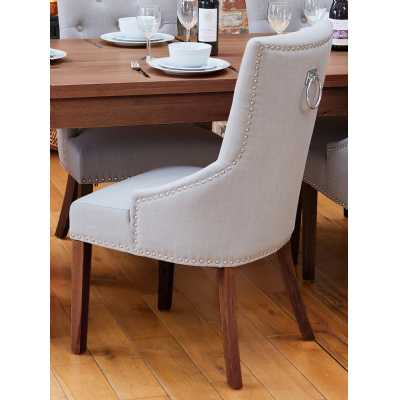 Walnut Accent Narrow Back Upholstered Dining Chair Grey (Pack Of Two)