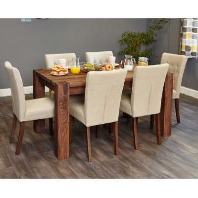 Walnut 150cm Dining Table 6 Seater Modern
